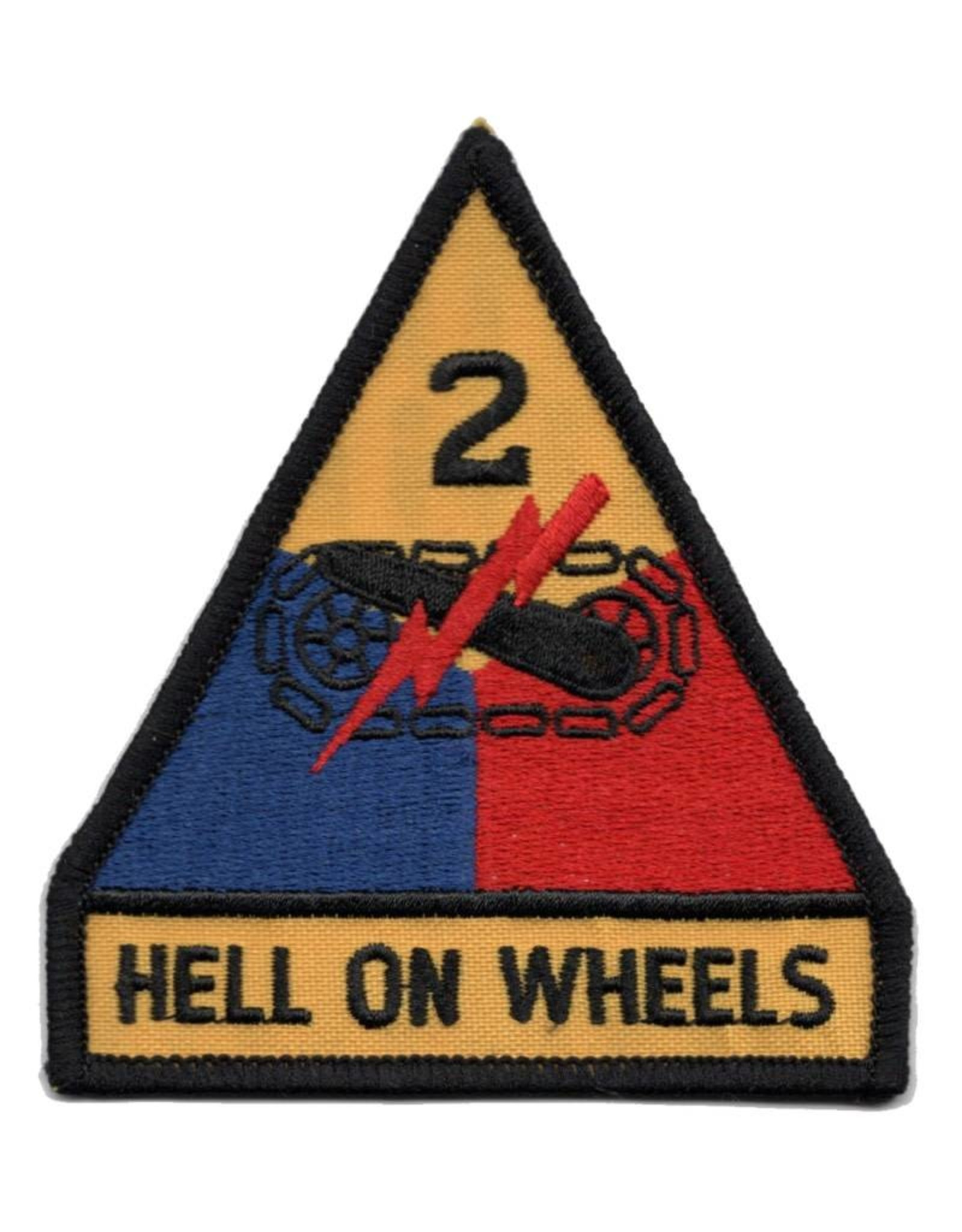 """MidMil Embroidered 2nd Armored Division Emblem Patch with """"Hell on Wheels"""" Motto 3.4"""" wide x 3.9"""" high"""