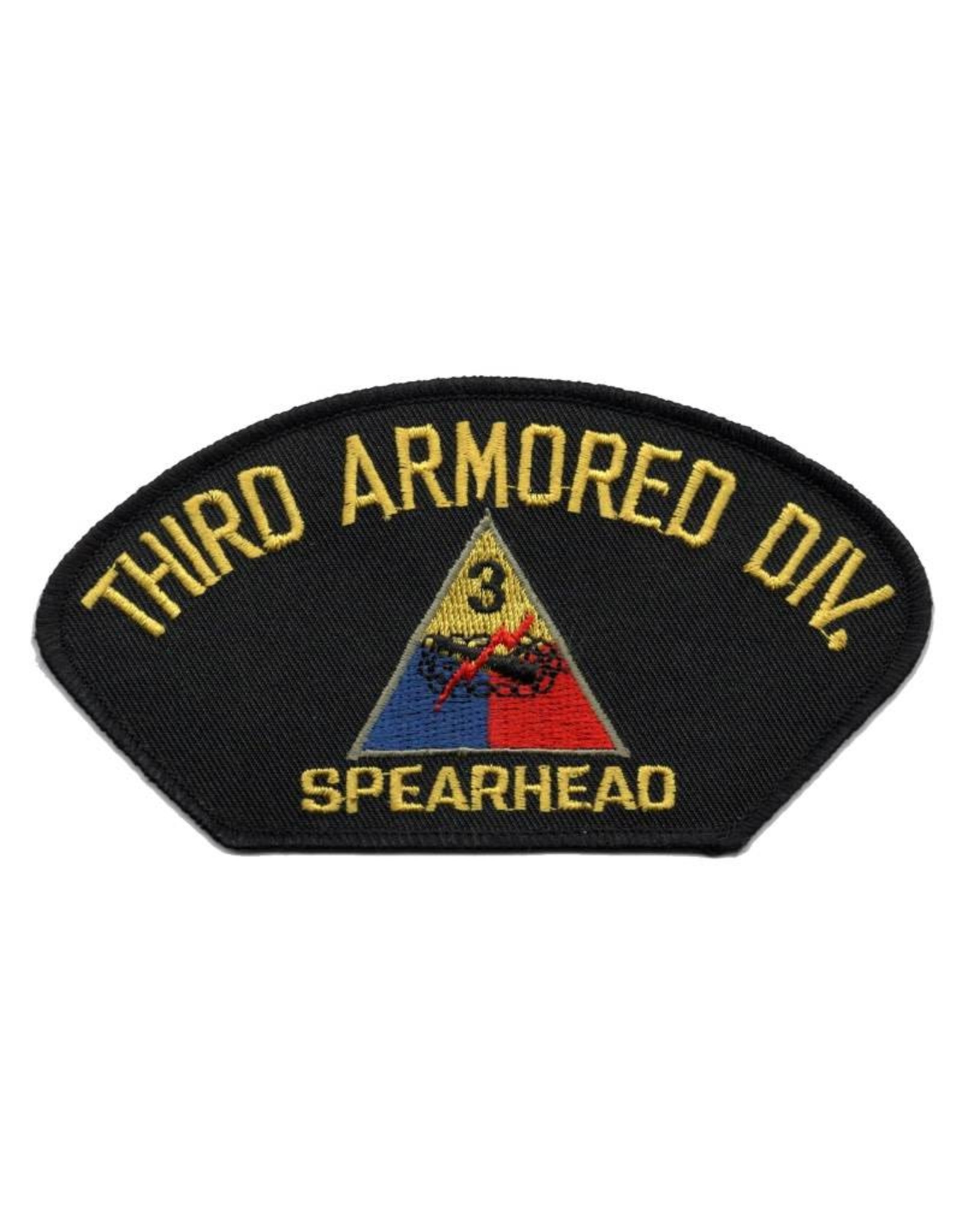 """MidMil Embroidered 3rd Armored Division Patch with Emblem and """"Spearhead"""" Motto"""