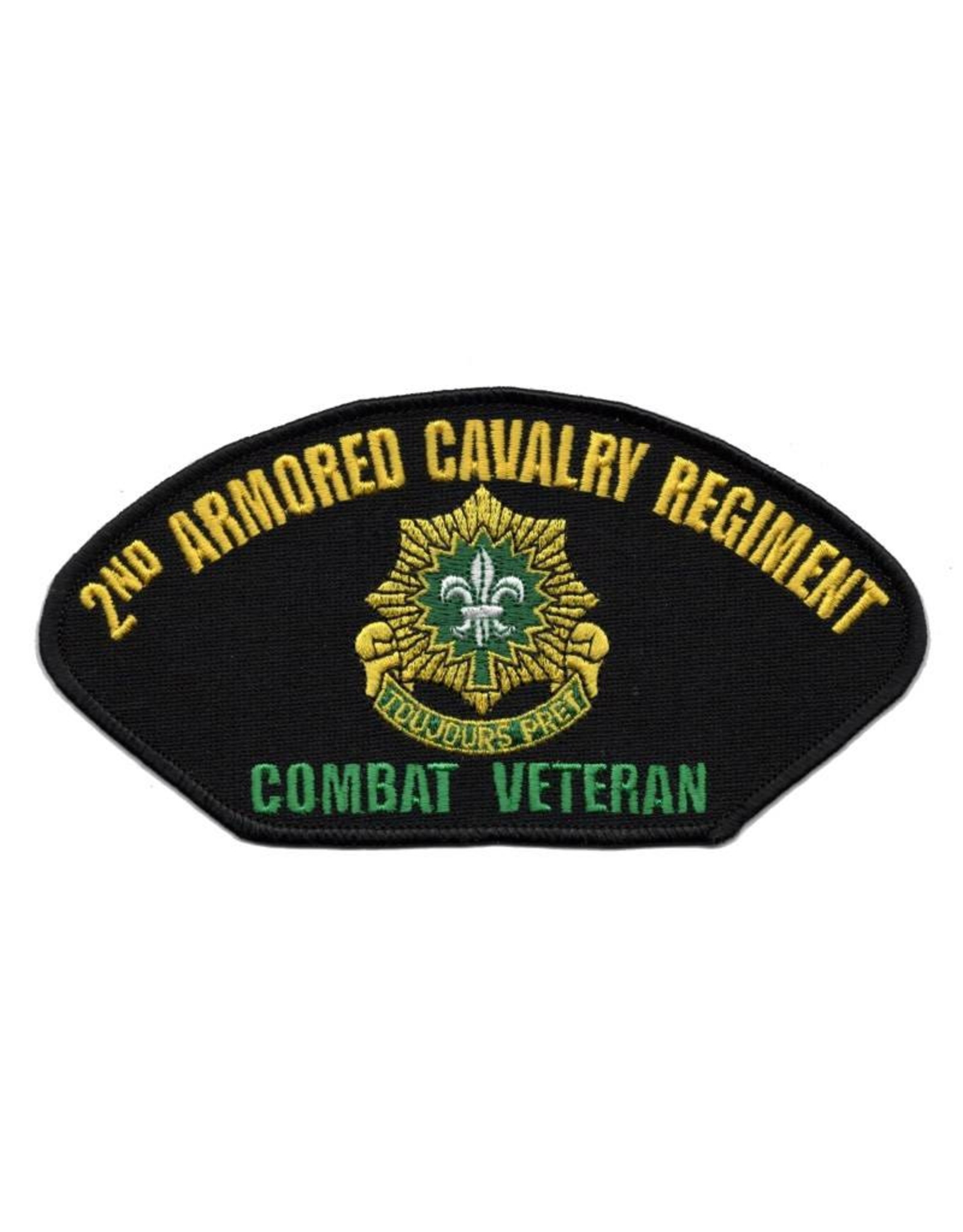 """MidMil Embroidered 2nd Armored Cavalry Regiment Patch with Emblem and """"Combat Veteran"""" 6"""" wide x 3"""" high"""