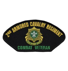 "MidMil Embroidered 2nd Armored Cavalry Regiment Patch with Emblem and ""Combat Veteran"""