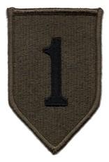 MidMil Embroidered Subdued 1st Infantry Division Emblem Patch Black on Olive Drab