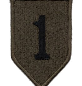 MidMil Embroidered Subdued 1st Infantry Division Emblem Patch Black on Olive Drab