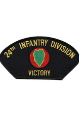 """MidMil Embroidered 24th Infantry Division Patch with Emblem and Motto """"Victory"""" 5.3"""" wide x 2.8"""" high"""