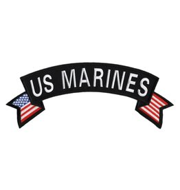 MidMil Embroidered US Marines Rocker Patch with American Flag Tails