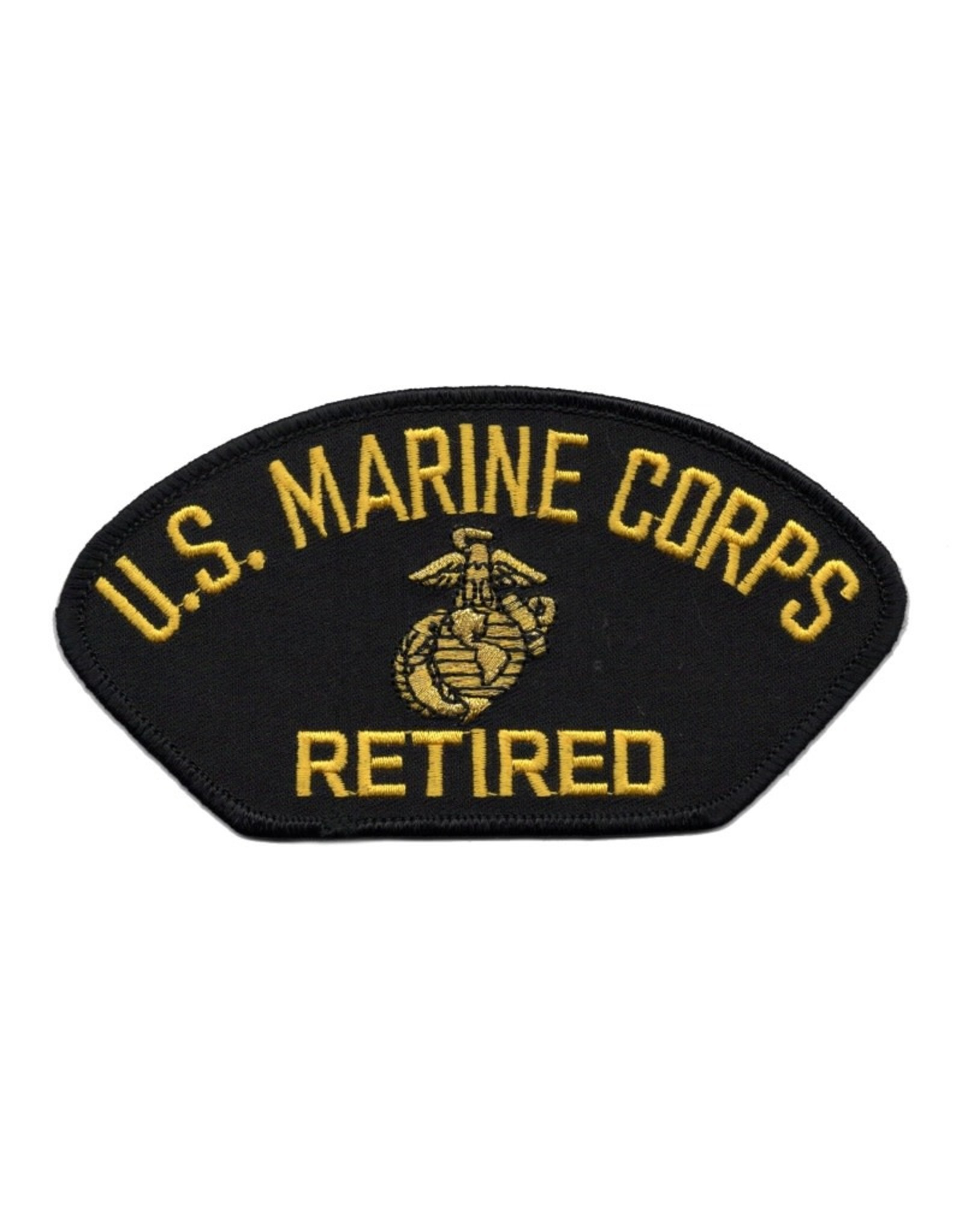 MidMil Embroidered Marine Corps Retired Patch with Emblem Black