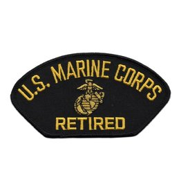 Embroidered Marine Corps Retired Patch with Emblem Black