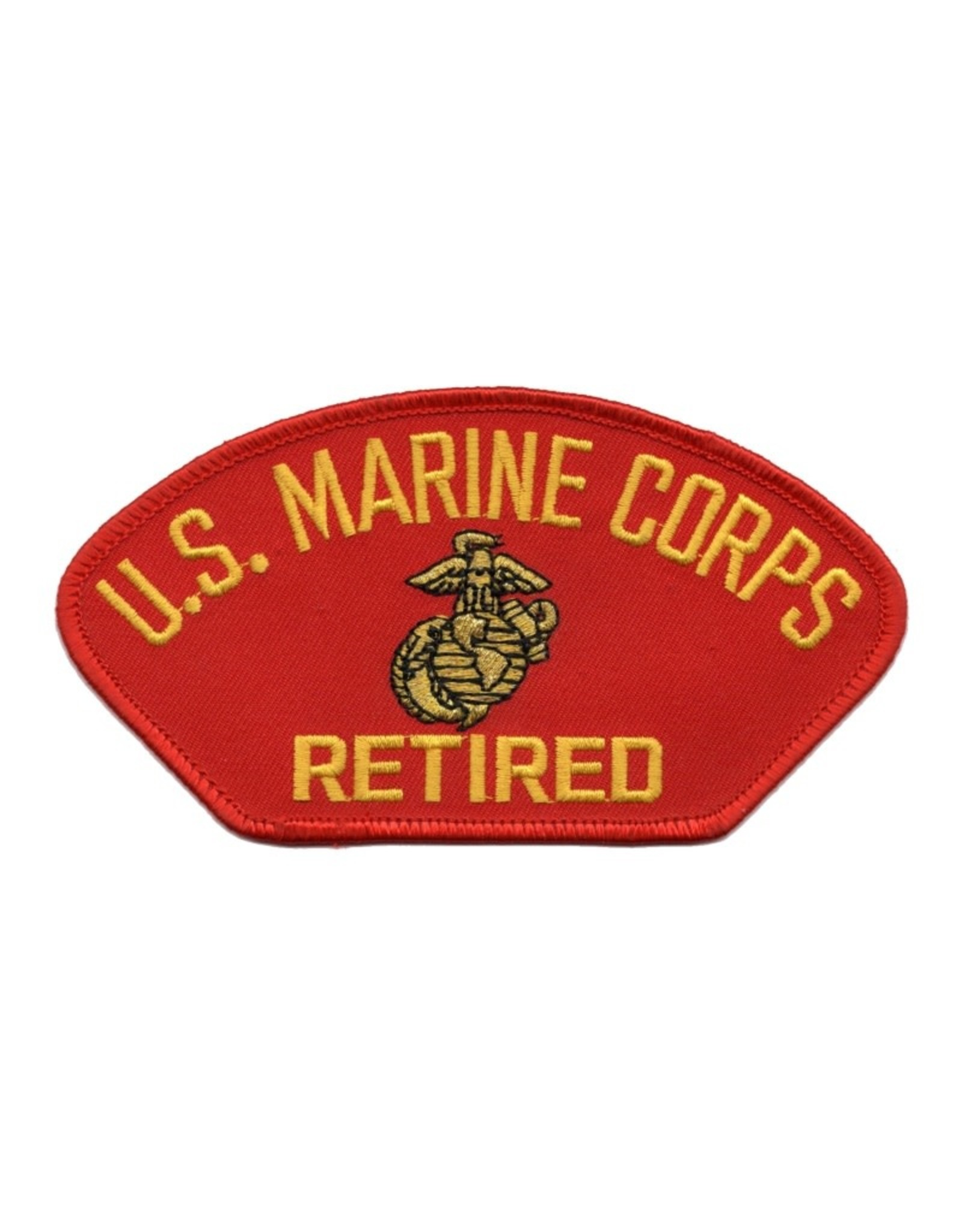 MidMil Embroidered Marine Corps Retired Patch with Emblem Red