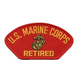 Embroidered Marine Corps Retired Patch with Emblem Red