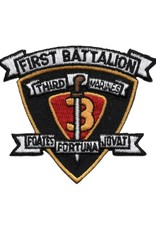 """MidMil Embroidered 1st of the 3rd Marine Patch 3.2"""" side x 2.7"""" high"""