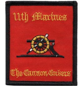 "MidMil Embroidered 11th Marine Regiment Patch with Emblem and Motto Red 2.8"" wide x 3.3"" high"