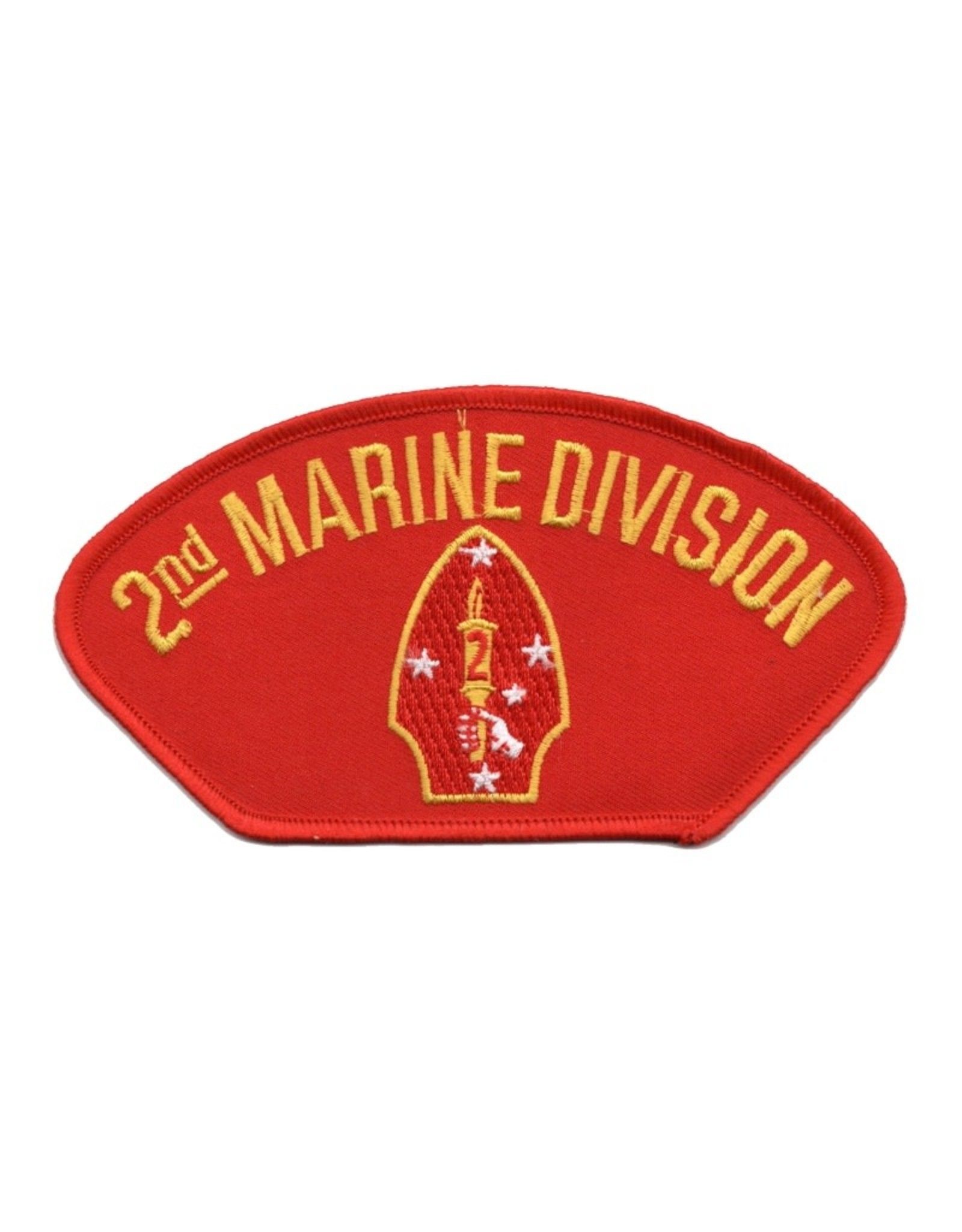"""MidMil Embroidered 2nd Marine Division Patch with Emblem 5.2"""" wide x 2.8"""" high Red"""