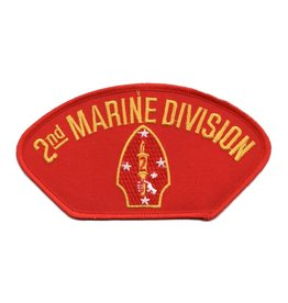 "MidMil Embroidered 2nd Marine Division Patch with Emblem 5.2"" wide x 2.8"" high Red"