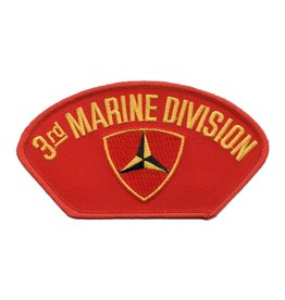 MidMil Embroidered 3rd  Marine Division Patch with Emblem Red
