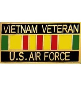 MidMil Air Force Vietnam Veteran Pin with Service Ribbon 1 1/8""
