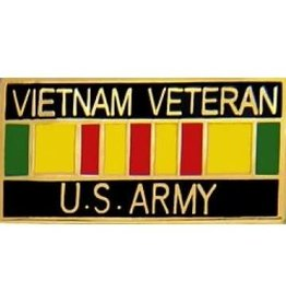"MidMil Vietnam Veteran U. S.  ArmyPin with Service Ribbon 1 1/8"""