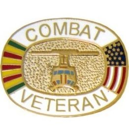 MidMil Combat Veteran Pin with Helicopter and Vietnam Service Ribbon 1""