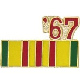 "Vietnam Service Ribbon '67 Pin 7/8"""