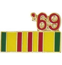 "Vietnam Service Ribbon '69 Pin 7/8"""