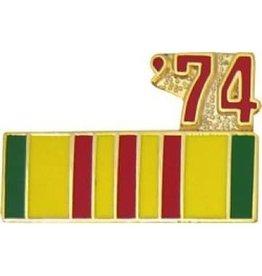 """MidMil Vietnam Service Ribbon '74 Pin 7/8"""""""