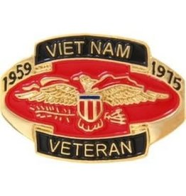 MidMil Vietnam Veteran Red Oval Pin 1959 - 1975  1 1/8""