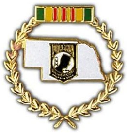 MidMil Nebraska POW Pin Vietnam Wreath  1 1/4""