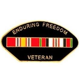 "Enduring Freedom Veteran Pin with Ribbons 1 1/4"""