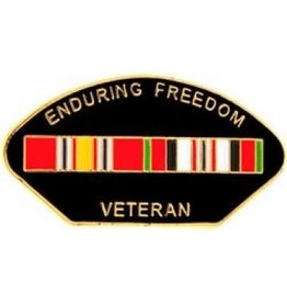 MidMil Enduring Freedom Veteran Pin with Ribbons 1 1/4""