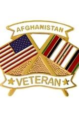 """MidMil Afghanistan Veteran Crossed Flags Pin 1 1/4"""""""