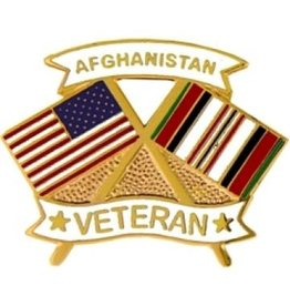 MidMil Afghanistan Veteran Crossed Flags Pin 1 1/4""