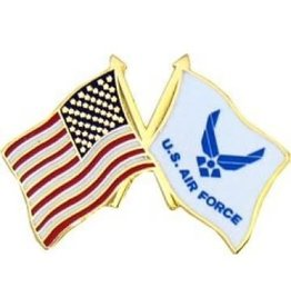 MidMil American and Air Force Wing Emblem Flags Pin 1""