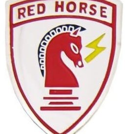MidMil Air Force Civil Engineer Red Horse Pin 1 1/4""