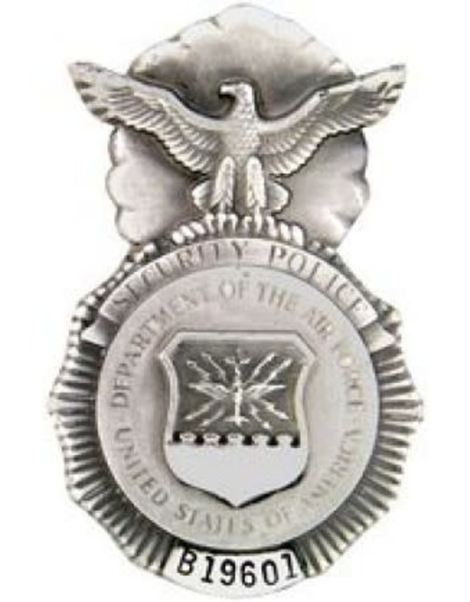 """MidMil Pewter Air Force Security Police Badge Pin 1 3/4"""""""