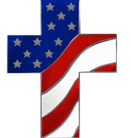 American Flag Cross Pin 1""