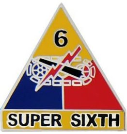"MidMil 6th Armor Division Emblem Pin with Motto 1"" Super Sixth"