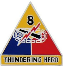 """MidMil 8th Armor Division Emblem Pin with Motto 1"""""""