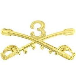 "MidMil Army 3rd Cavalry Regiment Emblem Pin Regulation Size 2 1/4"""