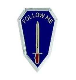 "MidMil Infantry School ""Follow Me"" Pin 1 1/16"""