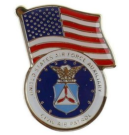 MidMil Civil Air Patrol Seal and American Flag Pin 1 1/8""