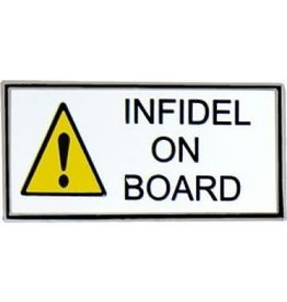 MidMil Warning Infidel on Board Pin 1 1/4""