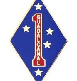 "MidMil 1st Marine Division Emblem Pin 1 1/4"""