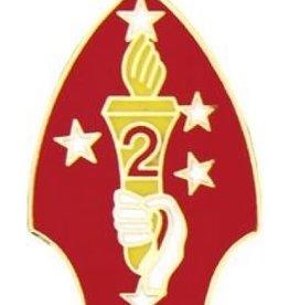 "MidMil 2nd Marine Division Emblem Pin 1 1/8"""