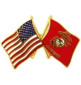 MidMil Marine Corps and American Flags Pin 1""