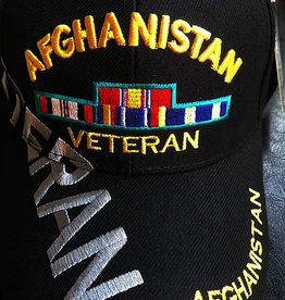 MidMil Afghanistan Veteran Hat with Ribbons and Over Shadow Black