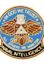 MidMil Naval Intelligence Pin with Eagle and Motto 1""