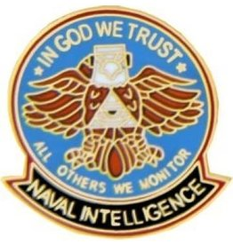 """Naval Intelligence Pin with Eagle and Motto 1"""""""
