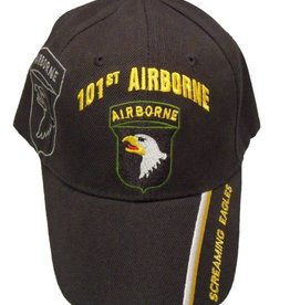 Army 101st Airborne Division Hat with Emblem Shadow and Motto Black