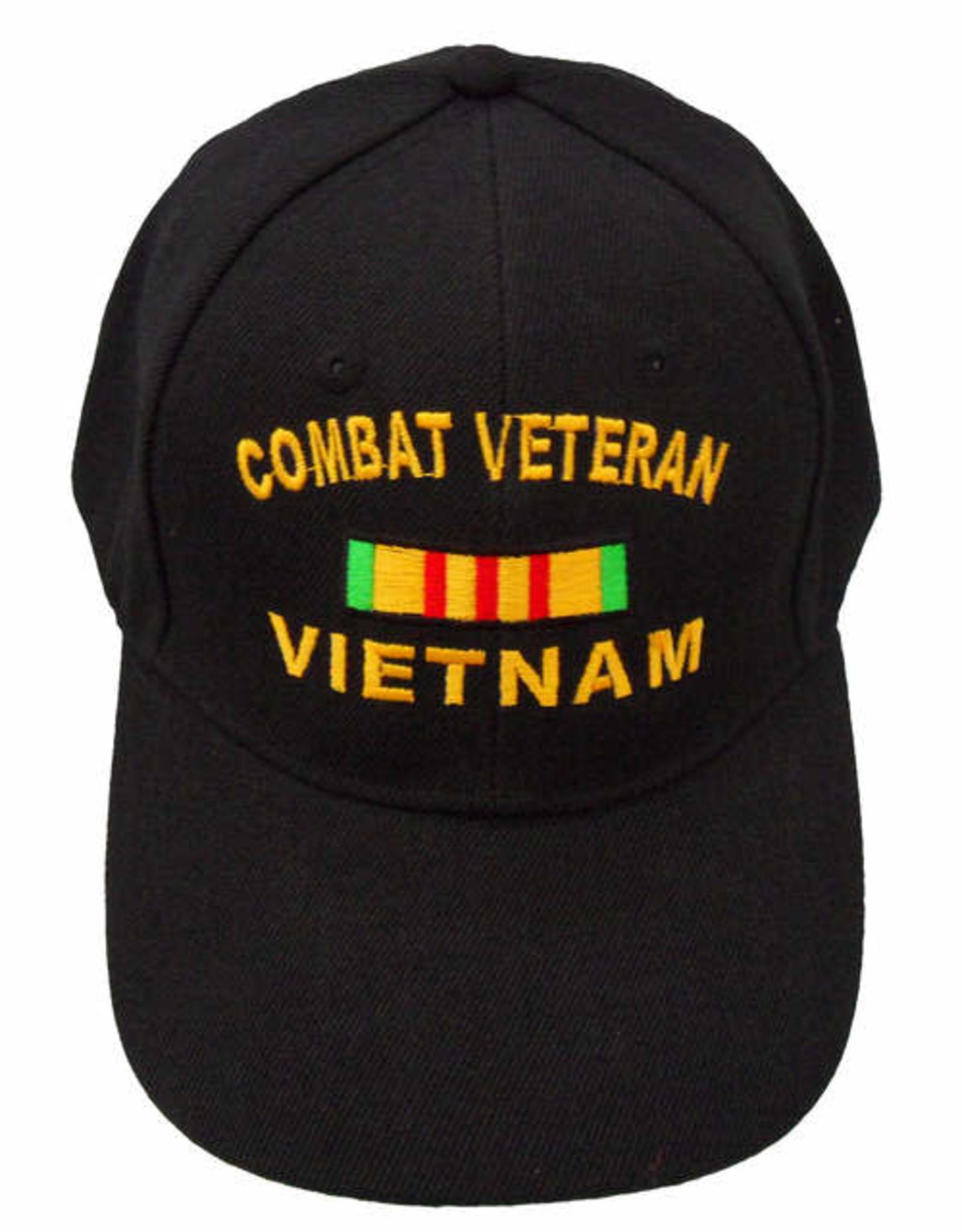MidMil Combat Veteran Vietnam Hat with Service Ribbon Black