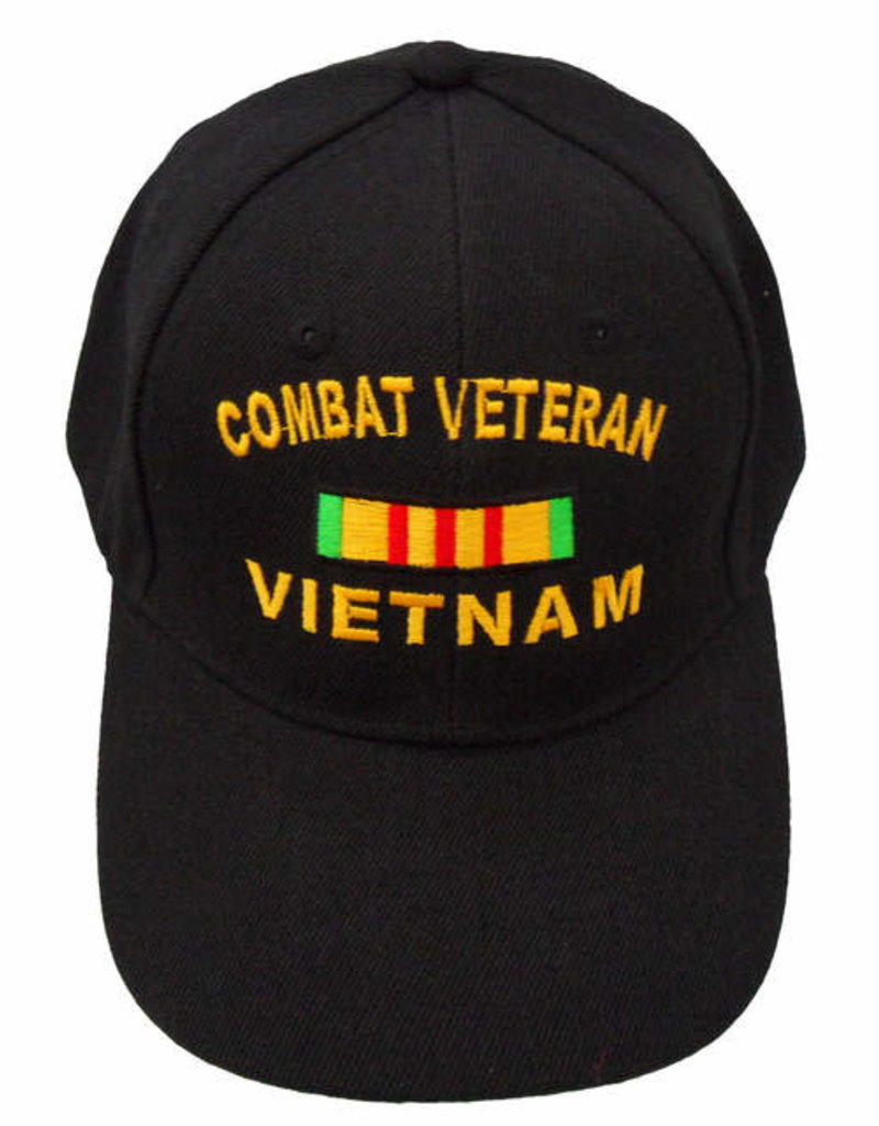 MidMil Combat Veteran Vietnam Hat with Service Ribbon Black