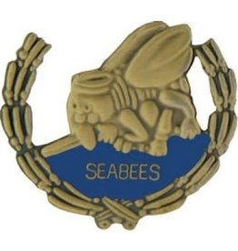 MidMil Navy Seabees Wreath Pin 1 1/8""