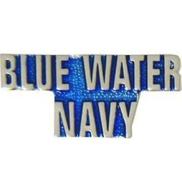 """Blue Water Navy Text Pin 1 1/4"""""""